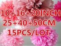 Wholesale 10 quot quot quot cm cm CM Tissue Paper Pom Poms Wedding Party Decor Flower ball