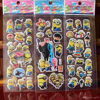 Wholesale 2015 New Despicable me Anime Cartoon Stickers D PVC Bubble Stickers Kids Classic Toys Craft baby Children