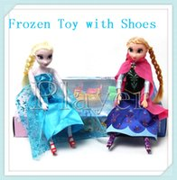 Wholesale Frozen Elsa Anna Doll Joint Moveable Dolls Baby Action Figures Plastic Toys with Shoes cm with Retail Box