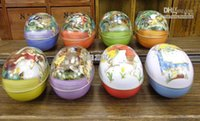 Wholesale Easter decoration cabochons Fashion easter eggs tin candy storage box