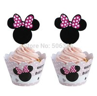 Wholesale 120pcs Minnie cupcake wrappers toppers picks decoration kid birthday party favors supplies Festival cake decoration