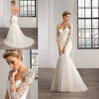 Cheap 2015 Gorgeous Mermaid Wedding Dresses Plus Size Sheer Scoop Mesh Back Covered Buttons with Long Sleeves Glitter Stones and Sequins Appliques