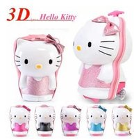 Wholesale 2015 Cartoon Hello kitty suitcase Zip trolley cartoon children student travel box board chassis kids travel trolley luggage inch inch