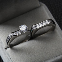 Wholesale Surprise price Sterling sliver Best romantic Cubic Zirconia mens wedding bridal couple rings jewelry set for lovers