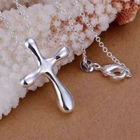 large cross jewelry - P105 sterling fashion jewelry Necklace pendants Chains sterling silver necklace Large water droplets cross penda