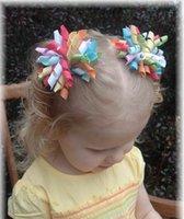 54 couleurs curleurs enfants arcs fleurs boucheuse barettes cheveux filles Barrettes points ruban Korker cheveux pince corker accessoires cheveux A249