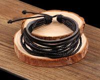 bead wrap bracelet diy - Genuine Leather Bracelet DIY Jewelry DHL Free Wax Rope Braided Leather Bracelet Braided Charm Wrap Leather Bracelet