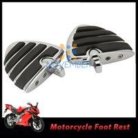 aluminum billet foot rest - Wing Foot Pegs Male Mount Motorcycle Bike Moto Foot Rest Billet Aluminum Rubber Footrest Footpegs For Harley Davidson order lt no track
