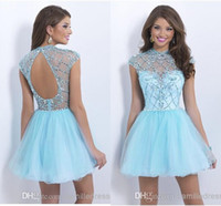 Cheap Charming Sky Blue Backless Homecoming Dresses High Collar Corset Pleats Organza Sequins Crystal Short Party Prom Dress Gown Homecoming Dress