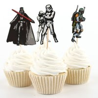 Wholesale 72pcs The Star Wars Party Supplies Cartoon Cupcake Toppers Pick Birthday Decoration Kids Party Favors