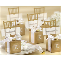 Cheap wholesale 100pcs Cute Gold   silver Chair Wedding Favor Candy Boxes+ Ribbon Wedding Package Gift Box baby shower favor gift box