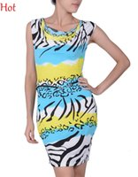babydoll evening dress - New Fashion Women Dress Ruffled Neck Strechy Striped Zebra Pencil Bodycon Dress Elegant Evening Party Dresses Babydoll G String SV004492
