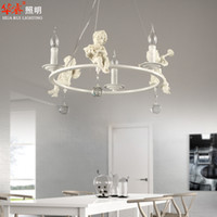 Wholesale iron wrought chandeliers brief style lighting Holy pendant lamp resin angel white hanging lights crystal bedroom cloth lampshade110v v