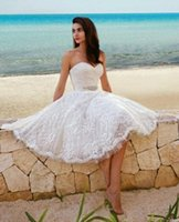 Wholesale 2015 White Lace Short Beach Wedding dresses Sweetheart Summer Knee Length Backless Bridal dress A Line michael cinco Gowns