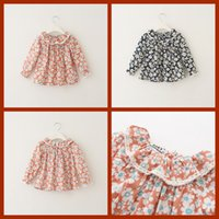 sweet tee shirts - 2015 New Girls Floral Tees Cape Neckline Long Sleeve Casual Party Shirts Western Fashion Candy Color Lace Frilled Sweet Tops Cute Blouse