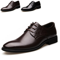 comfortable formal shoes - Top Autumn Men Shoes Pointed Toe Lace Up Comfortable Flats Formal Wedding Party Business Dress Shoes For Men Size TA0150 Kevinstyle