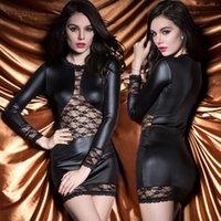achat en gros de vêtements de latex xl-Mme danse PU imitation cuir sac hanche de la dentelle de couture exotiques vêtements sexy sirène costumes fétiche lingerie cuir harnais érotique