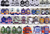 Wholesale Hot Edmonton Wayne Gretzky Jersey Orange Blue White Throwback CCM St Louis Blues Stitched Los Angeles Kings Hockey Jerseys