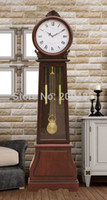 antique wooden floors - America pastoral fashion Wooden grandfather clock antique wooden floor clock with hourly music chime
