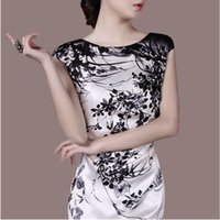 silk clothes - 2015 Women Silk Casual Dress A line Knee Length Sleeveless O Neck Sundress Print Casual Fashion XXL Vestitos Coat Clothes Blusas YR001