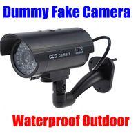 al por mayor ccd de seguridad cctv-Cámara falsa Dummy Emulational Decoy al aire libre bullet CCTV IR Inalámbrico CASA Cámaras de Seguridad Luz de flash Led rojo flashes