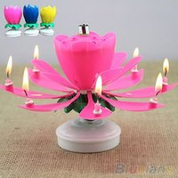 Wholesale Romantic Musical Lotus Flower Rotating Happy Birthday Party Gift Candle Lights PI4