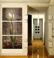 flower picture frame - Oil style mangnolia flower print picture Painting On Canvas For Home Modern Decoration Panel Wall Art No Framed