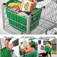 Wholesale Grab Bag Pack Reusable Ecofriendly Shopping Bag That Clips To Your Cart Cloth Green VB313051