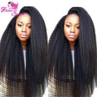 En bruto Kinky cordón del pelo humano recto de encaje peluca delantera Glueless completa Pelucas Yaki Kinky peruana peluca recta con el pelo del bebé