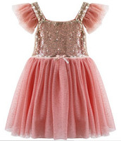 american performance - Girls Spring Sequin Lined Tulle Party DressSequin Shiny Party Dresses Holiday School Performance dress Child TUTU Dresses pc melee