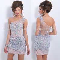 short net gowns - Charming One Shoulder Bodice Net with Rhinestones Mini Straight Homecoming Dresses Short Prom Gowns Little Cocktail Dress Crystal Party Gown