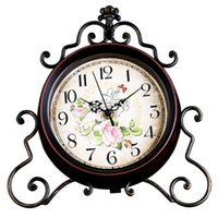 Wholesale Europe Style Vintage Table Clock Living Room Metal Mute Clock Creative Fashion Peony Decorative Desk Clocks