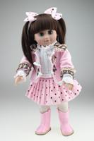 Cheap Lovely Vinyl Girl Doll Toy Brinquedo 45cm Play Dolls 18 inch American Girl Doll Blue Eyes in Princess Dress