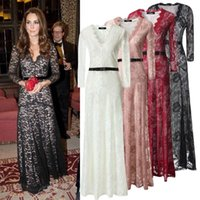 floor length maxi dress - 2015 new Spring Europe style V neck long sleeve Floor length floral Embroidery lace party dresses women Maxi dresses with belt