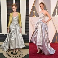 Wholesale Oscars Red Carpet Lily Cole Celebrity Dresses Strapless Ruffled Taffeta A Line Ball Gowns New Arrival Prom Dresses Evening Gowns