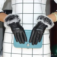Wholesale LJJG78 pairs Super Warm Windproof PU Gloves Screen Gloves Rabbit hair female gloves High quality fur leather women gloves