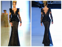 beaded sequined lace fabric - 2015 Fouad Sarkis Mermaid Evening Dresses V Neck Floor Length Black Sequins Lace Fabric Long Sleeve Sash Applique Peplum Evening Gowns