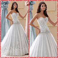 dresses new york - 2015 Modest Sweetheart Lace Appliques A Line Wedding Dresses Beaded Crystal Sequined Custom Stella New York Bridal Gowns Western UK Fashion
