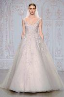 white lace up corset - Monique Lhuillier Fall New Grey Wedding Dresses Scoop Neckline Appliques Tank Straps Floor Length Tulle Ball Gown Corset Bridal Gowns