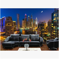 Wholesale Mural D Hongkong city night scene large murals Mediterranean TV backdrop sofa bedroom background wall mural wallpaper