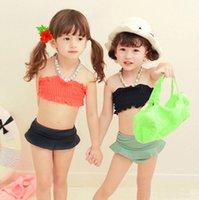 Cheap 5 Pcs Lot 2015 New Summer Kids Baby Girl Toddler Child Chest Wrap Flower Cover Up Cap Black Orange Swimwear Swimsuit S0140137