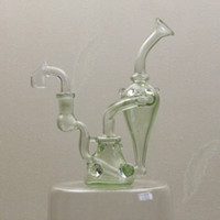 green leaves - Good at health tobacco glass pipes bong oil dome bubbler mini bong transparent green glass pipe leaves Smoking bong Glass water pipes