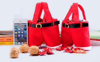 Wholesale Christmas Pouch Pants - 2015 Christmas gifts Santa Claus Pants Style Xmas MEDIUM Red Candy Wine Hands Bag Basket Pouch Party Decoration For christmas decorations