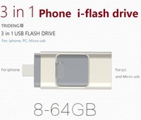 Wholesale Phone in Usb Flash Drive gb gb OTG For iphone s ipad ios android iflash drive PC Pen Drive storage devices