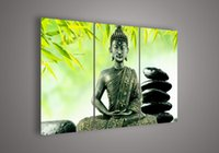 asian wall paintings - 3 Piece Wall Art Religion Buddha Green Oil Painting On Canvas Picture By Asian Paintings Pictures Decor