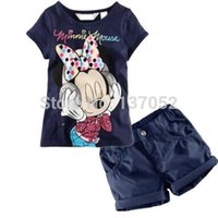 Wholesale Hot Sale Hot sale new Lovely Baby Kids Boys Girls Minnie Mouse clothes T Shirt Shorts suits cartoon children s clothing sets