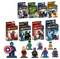 Wholesale 8 style Building Blocks movie Super Hero Avenger with Weapon Kid Baby Toy Mini Figure Building Blocks Sets Model Toys Minifigures Brick