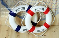 Wholesale Lifebuoy fabric art Hang Decoration Mediterranean Style Decorations Home Coffen Bar Hangings Support Drop Shipping