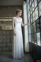 bella wedding dress - tamara israeli bridal bella sleeveles wedding dress lace back view v neck covered button back draped bridal gowns customized plus size