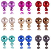 Wholesale New Fashion big pearl stud earrings plated silver earpins women lady party wedding candy color metallic velvet charm earrings jewelry gift